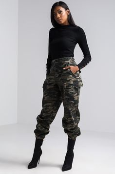 Front View Think It Over Boyfriend Fit Camo Pant in Camo