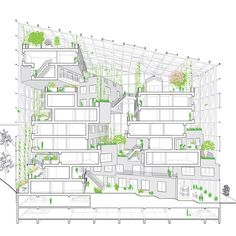 We're happy to share our visions for Paris' 'Inventons la Metropole', a competition to reinvent 55 of the city's districts. Here, our proposal for Issy les Moulineaux. Green balconies hug the atrium to create a beautiful and dynamic centre space. Green Architecture, Concept Architecture, Architecture Drawings, Landscape Architecture, Architecture Design, Module Architecture, Paris, Atrium Design, Section Drawing
