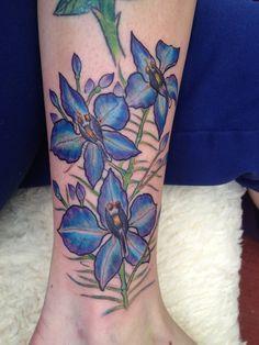 larkspur tattoo | Larkspur tattoo July's flower, second flower done ... | tattoos I love