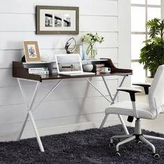 table bureau moderne avec plateau en bois foncé et pieds métalliques croisés