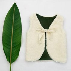 Baby Girl Vest Handmade From Organic Cotton Plush And Dark Green Colour Pure Linen Lining, READY TO SHIP from Europe