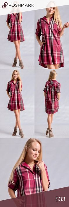 "COMING SOON! Plaid Shirt Dress w/ Side Pockets Plaid Shirt Dress with Side Pockets in Burgundy (FULLY LINED!) 65% Cotton, 32% Nylon, 3% Spandex. Made in China. Measurements taken while garment is laying flat 〰︎〰︎ Size Small = 34"" Long, 20"" Bust 〰︎ Medium = 35"" Long, 21"" Bust 〰︎ Large 36"" Long, 22"" Bust. Dresses Long Sleeve"