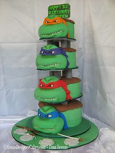 "I love that the sign on top of the cake says ""Happy 30th Birthday""... Who needs kids for a ninja turtles cake?! :)"