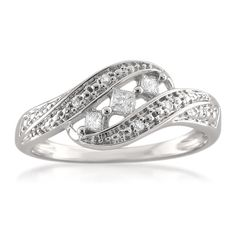 Montebello 14k White Gold 1/5ct TDW Princess-cut Diamond Ring (H-I, I1) (Size 7), Women's