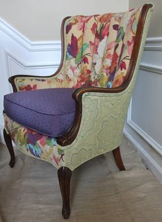 Chapin Group Interiors : Furniture Fix Ups: Not your Mama's Chair Furniture Fix, Upholstered Furniture, Wingback Accent Chair, Accent Chairs, Patchwork Sofa, Chair Bench, Crates, Sofas, Upholstery