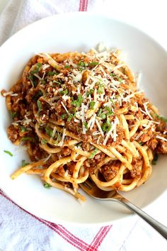 The Best Bucatini Bolognese you will ever eat! Full of flavor and rich texture, it's a labor of love that is so worth the effort to make for its comfort and enjoyment. Escarole Recipes, Bucatini Recipes, Seafood Pasta Recipes, Yummy Pasta Recipes, Meat Recipes, Cooking Recipes, Pizza Recipes, Sauce Recipes, Dinner Recipes