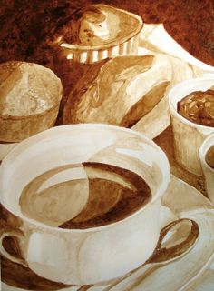 Coffee Art® is a website by Andrew Saur and Angel Sarkela-Saur that showcase their unique talents where they use coffee as their medium of choice. Food Painting, Coffee Painting, Coffee Time, Coffee Cups, Parisian Breakfast, French Vanilla Cappuccino, Coffee Bean Art, Coffee Artwork, Water Drawing