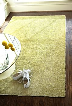 loloi happy chag in citron.  Might be worth considering for floor once furniture in room. comes in a couple other colors too