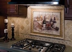 kitchen backsplash like the neutral stone look without the mural. Interior Design Ideas. Home Design Ideas