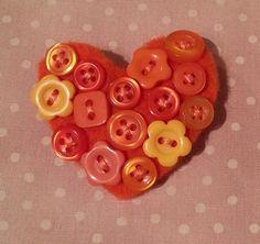 Textile Button Heart  Brooch in Orange £8.00