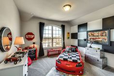 Car room with lots of fun details! Tag friends who Via Gehan Homes. - Home Decor For Kids And Interior Design Ideas for Children, Toddler Room Ideas For Boys And Girls Boy Car Room, Boys Car Bedroom, Race Car Room, Car Bedroom Ideas For Boys, Race Car Nursery, Hot Wheels Bedroom, Car Themed Nursery, Teen Bedroom, Toddler Rooms