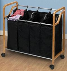 Bamboo Quadruple Sorter - Laundry Organization - Storage And Organization - Storage And Display | HomeDecorators.com