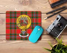 Rubber mousemat with Drummond clan crest and tartan - only from ScotClans