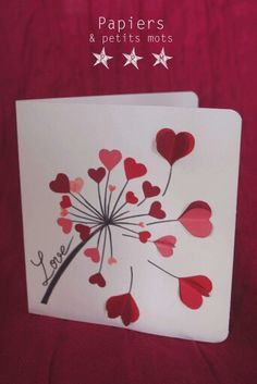 carte love pissenli Plus Mothers Day Crafts, Valentine Day Crafts, Love Cards, Diy Cards, Diy Birthday, Birthday Cards, Tarjetas Diy, Diy And Crafts, Paper Crafts