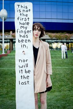 """This is not the first hole my finger has been in; nor will it be the last."" Miranda July. Awkward."