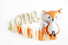 Fox First Birthday Party Box one script balloons tassel