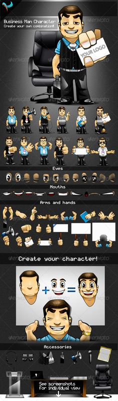 #Animatable #Business Man #Cartoon Character Kit - #Characters Illustrations