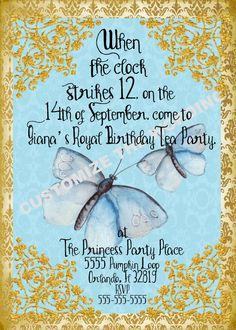 CINDERELLA 2015 inspired Butterfly Invitation Fairytale Birthdays CUSTOM Wording by GigiBabi on Etsy