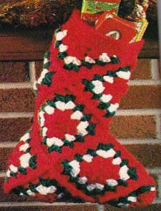 Free Crochet Granny Square Christmas Stocking Pattern