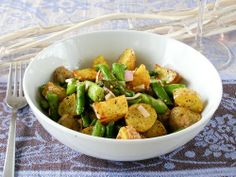 Warm Salad of Roasted New Potatoes, Sauteed Asparagus and Shallots in a Mustard-Dill Vinaigrette