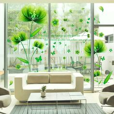 Fashion DIY Removable Plant Wall Stickers for Room Glass Door Home Decoration