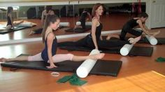 Over Splits - Pilates for ballet with foam roller & theraband- flexibility , stretching, via YouTube...Wow! I wonder if I'd ever be able to do this....