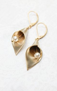Gold Calla Lily Earrings Spring Jewelry Golden