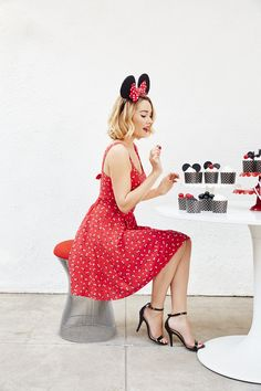 Which one will you pick? The red open-back Minnie Mouse print dress from LC Lauren Conrad, of course!