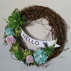 January's Close To My Heart promotion for customers...it's looking pretty fantastic on my wall   CTMH Welcome Home Wreath Kit #ctmhwelcomehomewreath #ctmh #homedecor #workshop #papercrafts #flowers #paperflowers #papercraftingmonth #succulentwreath #ctmhwelcomehome #nationalpapercraftingmonth