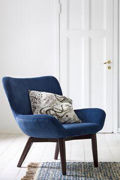 Ellos Home Lenestol Trendy i fargene Mørk blå innen Hjem - Lenestoler - Ellos Accent Chairs, Armchair, Sweet Home, Objects, Dining Room, Blue, Inspiration, Furniture, Design