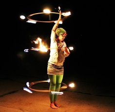 Triple Fire Hooping with Sarah Sparkles   hooping.org