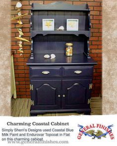 This cabinet got an overhaul by Simply Sherri's Designs with General Finishes Coastal Blue Milk Paint and Flat Endurovar Topcoat.We'd love to see your projects made with General Finishes products! Tag us with #GeneralFinishes or share with us through our website or facebook page.