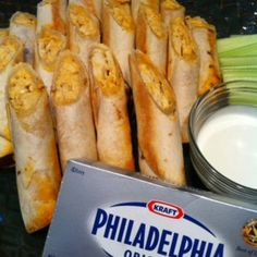 We can't wait to make these Buffalo Chicken Taquitos for Dad! Spicy Buffalo chicken combined with the creaminess of Philadelphia will make any dad happy!