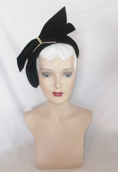 40s 50s Vintage Black Velour Cocktail Hat with by MyVintageHatShop