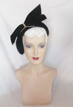 40s 50s Vintage Black Velour Cocktail Hat with by MyVintageHatShop