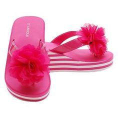 Toddler Girls 10 Fuchsia Flower Wedged Striped Flip Flop Sandals