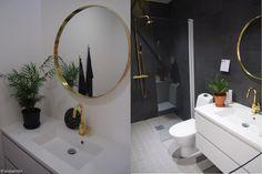 Golden elements in the bathroom - at Vantaan asuntomessut