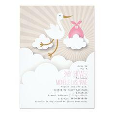 Stork + Clouds Baby Shower - Pink