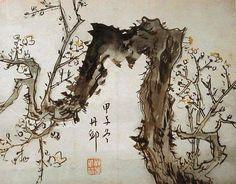 (Korea) 매화 by Danwon Kim Hong do  (1745- 1806). ca 18th century CE. color on paper.