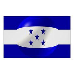 Shop Honduras Flag Poster created by biglnet. Flag Design, Print Design, All Country Flags, Honduras Flag, National Flag, Corner Designs, Custom Posters, Customized Gifts, Custom Framing