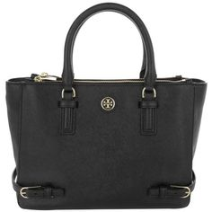 Tory Burch Robinson Multi Tote Saffiano Black in black, Handle Bags (£410) ❤ liked on Polyvore featuring bags, handbags, tote bags, black, zippered tote bag, leather zipper tote, leather purses, leather handbags and tory burch tote