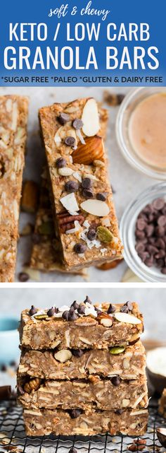 Keto Granola Bars - soft and chewy low carb granola bars are the perfect portable healthy snack for on the go. Best of all, these sugar free snacks are so easy to make with simple gluten free, dairy free Healthy Recipes, Baking Recipes, Keto Recipes, Snack Recipes, Free Recipes, Bar Recipes, Shrimp Recipes, Recipes Dinner, Potato Recipes