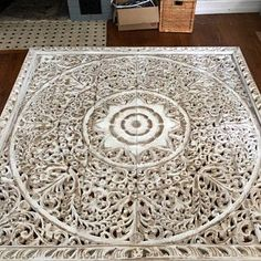 Large Queen Size Bed Bohemian Headboard Mandala Lotus Flower Wooden Hand Craved Teak Wood Wall Art Panels White Washed Thai Home Decor Wooden Wall Art Panels, Panel Wall Art, Large Wall Art, White Paneling, Wood Paneling, Mandala Lotus Flower, King Size Bed Headboard, King Comforter, Pereira