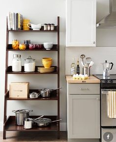 If you have to have visible storage, this is the way to go; I would like to fill it about 30% with cookbooks.