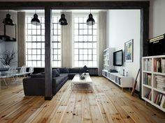 Eine Wohnzimmerlampe im industriellen Stil kann man in verschiedenen Designs und Farben finden, sodass jeder fündig wird. Cremeweiß, schwarz oder sogar rot