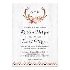 Shop Floral Antler Boho Rustic White Wood Bridal Shower Invitation created by CardHunter. Cricut Invitations, Wood Invitation, Summer Wedding Invitations, Rustic Invitations, Floral Invitation, Invite, Bridal Shower Cards, Bridal Shower Rustic, Bridal Shower Invitations