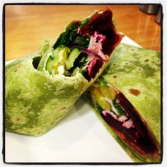 Mm salad and poached chicken on spinach wrap :D