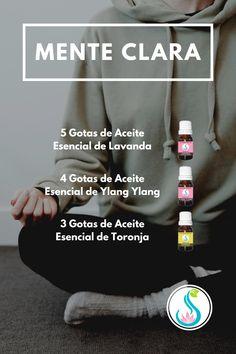 Crea una Mezcla de Aceites Esenciales con Lavanda, Ylang Ylang y Toronja para calmar la mente y hacer más fácil el proceso de meditación y concentración. Compra estos y más aceites en Luk's le' Aromaterapia. Diffuser, Essential Oil Blends, Aromatherapy, Lavender, Cleaning