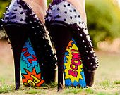 Boom! Pow!  Hand Painted Shoes