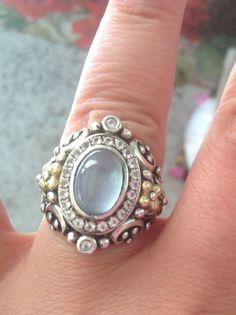 Barbara Bixby 925 & 18k Gold Blue Topaz Saddle Ring Signature Size 7